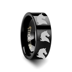 Animal Horse Head Print Ring Engraved Flat Black Tungsten Ring - 4mm - 12mm