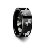 Animal Horse Hind Legs Print Ring Engraved Flat Black Tungsten Ring - 4mm - 12mm
