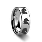 Animal Horse Head Print Ring Engraved Flat Tungsten Ring - 4mm - 12mm