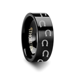 Animal Horse Shoe Print Ring Engraved Flat Black Tungsten Ring - 4mm - 12mm