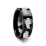 Animal Track Buffalo Print Ring Engraved Flat Black Tungsten Ring - 4mm - 12mm