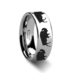 Animal Track Buffalo Print Ring Engraved Flat Tungsten Ring - 4mm - 12mm