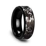 SMOKESCREEN Black Tungsten Carbide Wedding Ring with Engraved Black Digital Camouflage - 8mm