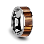 COPAN Flat Tungsten Carbide Ring with Polished Edges & Real Zebra Wood Inlay - 8mm