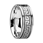 THASOS Grooved Tungsten Carbide Wedding Band with Greek Key Meander Design - 8 mm