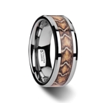 VIPER Tungsten Wedding Ring with Boa Snake Skin Design Inlay - 8mm