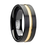 VIVALDI Black Ceramic Wedding Band With Yellow Gold Groove - 6mm & 8mm