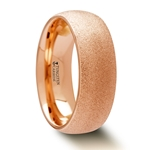 EMBER Domed Tungsten Carbide Ring with Rose Gold Plating and Sandblasted Crystalline Finish - 2mm - 8mm