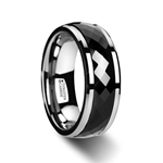 HICKOK Polished Diamond Faceted Black Ceramic Spinner Ring with Beveled Edges - 8mm