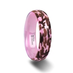 JOAN Domed Polished Pink Ceramic Ring with Laser Engraved Camo Pattern - 6mm