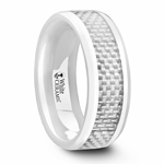 KENYON Beveled Polished White Ceramic Ring with White Carbon Fiber Inlay - 8mm