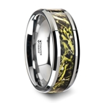 MOOR Tungsten Carbide Wedding Band with Green Marsh Camo Inlay Ring - 8mm