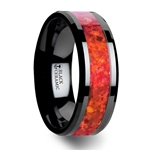 NOVA Black Ceramic Wedding Band with Beveled Edges and Red Opal Inlay - 4mm - 8 mm