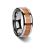 VERMILLION Red Oak Wood Inlaid Tungsten Carbide Ring with Bevels - 6mm-10mm