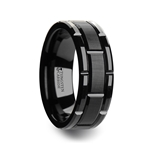 WINDSOR Beveled Black Tungsten Carbide Wedding Band with Brush Finished Center and Alternating Grooves - 8 mm & 10mm