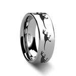 Dinosaur Ring Raptor Velociraptor Ring Prehistoric Paleo Engraved Flat Tungsten Ring - 4mm - 12mm