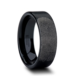 Fingerprint Engraved Flat Pipe Cut Black Tungsten Ring Brushed - 4mm - 12mm
