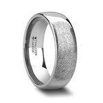Fingerprint Engraved Domed Tungsten Ring Polished- 4mm - 12mm