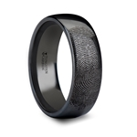 Fingerprint Engraved Domed Black Tungsten Ring Polished - 4mm - 12mm