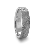 Fingerprint Engraved Flat Pipe Cut Tungsten Ring Brushed Ring - 4mm - 8mm