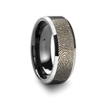 Fingerprint Engraved Flat Black Tungsten Ring with Brushed Finish with Polished Beveled Edges - 4mm - 10mm