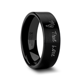 Handwritten Engraved Flat Pipe Cut Black Tungsten Ring Brushed- 4mm - 12mm