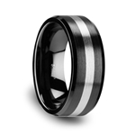 PHOENIX Brushed Black Ceramic Ring with Beveled Edges and Tungsten Inlay 6mm & 8mm