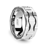 KANYE Tungsten Carbide Wedding Band with Crescent Pattern and Brushed Finish - 10mm