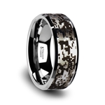 STEALTH Tungsten Carbide Wedding Ring with Engraved Digital Camouflage - 8mm