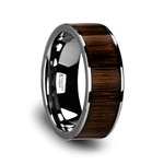 BOKKEN Flat Tungsten Wedding Band with Black Walnut Wood Inlay & Polished Edges - 6mm - 10mm