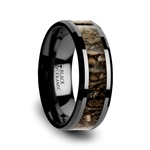 SILURIAN Dinosaur Bone Inlaid Black Ceramic Beveled Edged Ring - 4mm & 8mm