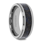 DEVONIAN Blue Dinosaur Bone Inlaid Tungsten Carbide Beveled Edged Ring - 4mm & 8mm