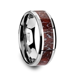 JURASSIC Red Dinosaur Bone Inlaid Tungsten Carbide Beveled Edged Ring - 4mm & 8mm