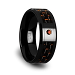 HELSING Black Ceramic Ring with Black and Orange Carbon Fiber and Orange Padparadscha Setting - 8mm