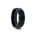 ELISE Black Tungsten Ring with Polished Beveled Edges and Brush Finished Center - 4mm - 10mm