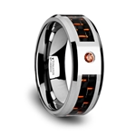 NOAH Tungsten Ring with Black and Orange Carbon Fiber and Orange Padparadscha Setting - 8mm