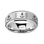 Spinning Engraved Anchor Tungsten Carbide Spinner Wedding Band - 8mm