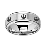 Spinning Engraved Rebel Alliance Star Wars Symbol Tungsten Carbide Spinner Wedding Band - 8mm