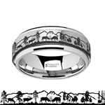 Spinning Spinner Engraved Deer Stag Mountain Range Tungsten Carbide Wedding Band - 8mm