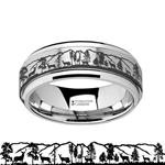 Spinning Engraved Roaming Deer Stag Tungsten Carbide Spinner Wedding Band - 8mm