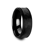 JOINER Hammered Finish Center Black Tungsten Carbide Wedding Band with Dual Offset Grooves and Polished Edges - 6mm & 8mm