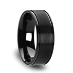 TURNER Flat Brushed Finish Center Black Tungsten Carbide Wedding Band with Dual Offset Grooves and Polished Edges - 6mm & 8mm