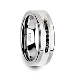 BLACKSTONE Flat Tungsten Wedding Band with Brushed Silver Inlay Center and 9 Channel Set Black Diamonds - 8mm