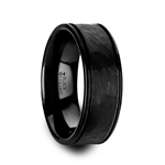 REVENANT Hammered Finish Center Black Ceramic Wedding Band with Dual Offset Grooves and Polished Edges - 6mm & 8mm