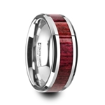 MAUVE Purpleheart Wood Inlaid Tungsten Carbide Ring with Bevels - 8mm