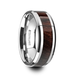 KEVAZ Bubinga Wood Inlaid Tungsten Carbide Ring with Bevels - 8mm