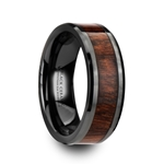 THRACIAN Carpathian Wood Inlaid Black Ceramic Ring with Bevels - 8mm