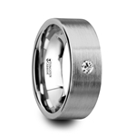 OLYMPUS Brushed and Flat Tungsten Carbide Wedding Ring with White Diamond - 6mm & 8mm