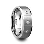 SAMUEL Satin Finish Tungsten Carbide Wedding Ring with 3 White Diamond Setting and Beveled Edges- 8 mm