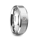 PORTER Brushed Finish Tungsten Carbide Wedding Ring with White Diamond Setting and Beveled Edges- 6 mm & 8 mm